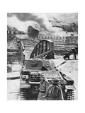 Destruction of Bridge over River Meuse by Belgians to Stop German Advance, World War 2, 1940 Giclee Print