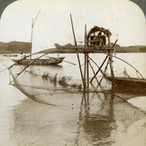 Toiler of the Sea, with His Curious Fishing Net, Bay of Matsushima, Japan, 1904 Photographic Print