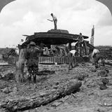 Engineers Clearing a Destroyed Tank from a Road, World War I, 1917-1918 Photographic Print