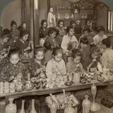 Factory Girls Decorating Cheap Pottery for the Foreign Markets, Kyoto, Japan, 1904 Photographic Print by  Underwood & Underwood