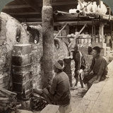 Workmen Watching Kilns Full of Awata Porcelain, Kinkosan Works, Kyoto, Japan, 1904 Photographic Print