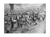 Relief French Infantry Passing a Line of Prisoners, Plessis-De-Roye, Picardy, France, 30 March 1918 Giclee Print