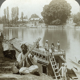 Houseboat Party, Jhelum River, Kashmir, India, C1900s Photographic Print by  Underwood & Underwood