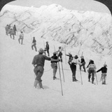 Ascending a Steep Snowfield, Stevens Glacier, Mount Rainier, Washington, USA Photographic Print by  Underwood & Underwood