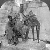 Three Headed Elephant Guarding a Sanctuary, Arakan Pagoda, Mandalay, Burma, 1908 Photographic Print