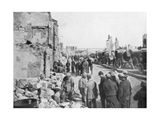 Captive German Prisoners Removing Debris from the Streets of Clermont-En-Argonne, France, 1914 Giclee Print
