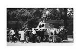 Bystanders Examining an Abandoned Tank on the Rue De Medicis, Liberation of Paris, August 1944 Giclee Print