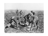 Wounded German Soldier Being Moved by Prisoners, Aisne, France, 18 July, 1918 Giclee Print
