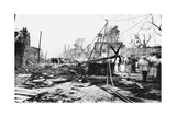 Earthquake Damage and a Burnt Car, King Street, Kingston, Jamaica, 1907 Giclee Print