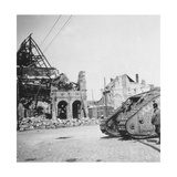 British Tank in Front of Ruined Buildings, Peronne, France, World War I, C1916-C1918 Giclee Print by  Nightingale & Co
