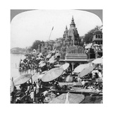 A Temple and Ghats on the Ganges at Benares (Varanas), India, 1900s Giclee Print