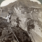 Peering from the Lava Encrusted Rim Down into Mount Fuji's (Fujiyama) Crater, Japan, 1904 Photographic Print