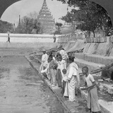 Pilgrims Feeding Holy Turtles, Arakan Pagoda, Mandalay, Burma, 1908 Photographic Print