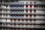 American Flag Through Window Blinds in Philadelphia, PA with Abraham Lincoln Quote Photo