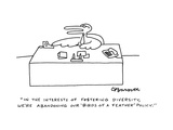 """In the interests of fostering diversity, we're abandoning our 'Birds of a…"" - Cartoon Premium Giclee Print by Charles Barsotti"