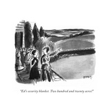 """""""Ed's security blanket. Two hundred and twenty acres!"""" - New Yorker Cartoon Premium Giclee Print by Barney Tobey"""