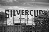 Silvercup Studios Sign in Long Island City, NY in Black and White Photo
