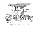 """Nobody said the cowbell industry was humane."" - New Yorker Cartoon Premium Giclee Print by Farley Katz"