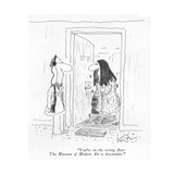 """You're on the wrong ?oor. The Museum of Modern Art is downstairs."" - New Yorker Cartoon Premium Giclee Print by Arnie Levin"