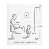 """Short day at school. The computers are down."" - New Yorker Cartoon Premium Giclee Print by Chon Day"