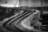 Model Train Tracks in Black and White with Robert Frost Quote Photo
