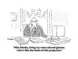 """""""Miss Demby, bring my rose-colored glasses.  I don't like the looks of thi…"""" - Cartoon Premium Giclee Print by Robert Mankoff"""