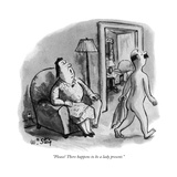 """Please! There happens to be a lady present."" - New Yorker Cartoon Premium Giclee Print by William Steig"