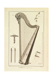 Plate XIX- a Harp from the Encyclopedia of Denis Diderot and Jean Le Rond D'Alembert, 1751-72 Giclee Print by Robert Benard