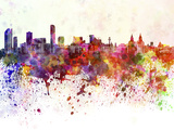 paulrommer - Liverpool Skyline in Watercolor Background - Reprodüksiyon