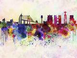 paulrommer - Lisbon Skyline in Watercolor Background - Reprodüksiyon