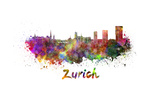 Zurich Skyline in Watercolor Prints by  paulrommer