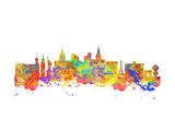 Watercolor Art Print of the Skyline of Las Vegas Nevada City USA Prints by  chris2766