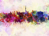 Toronto Skyline in Watercolor Background Poster by  paulrommer