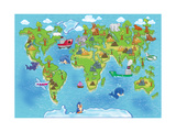 Kids World Map Poster av Alexander Pleshko