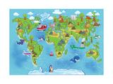 Kids World Map Premium giclée print van Alexander Pleshko