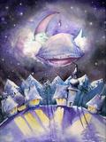 Moon Sleeping on a Cloud.Watercolors. Poster van  DannyWilde