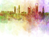 Riyadh Skyline in Watercolour Background Prints by  paulrommer