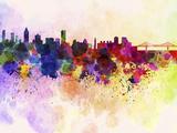 paulrommer - Montreal Skyline in Watercolor Background - Reprodüksiyon