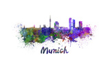 Munich Skyline in Watercolor Art by  paulrommer