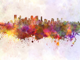Calgary Skyline in Watercolor Background Print by  paulrommer