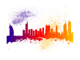 Dubai City Skyline Silhouette Prints by  chris2766