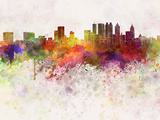 Atlanta Skyline in Watercolor Background Print by  paulrommer