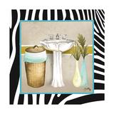 Zebra Bath II Premium Giclée-tryk af Elizabeth Medley