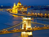Budapest, Hungary. Chain Bridge and the Parliament Photographic Print by  silver-john