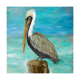 Pelicans on Post I Premium Giclee Print by Julie DeRice
