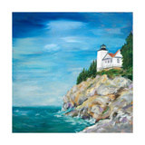 Lighthouse on the Rocky Shore II Reproduction giclée Premium par Julie DeRice