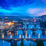 Panoramic View of Prague Bridges over Vltava River Photographic Print by  f9photos