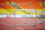 Hurdles on Race Tracks for Obstacle Race Photographic Print by Pavel Losevsky