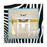 Zebra Bath I Premium Giclée-tryk af Elizabeth Medley