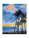 Blue Tropic Nights II Premium Giclee Print by Linda Baliko